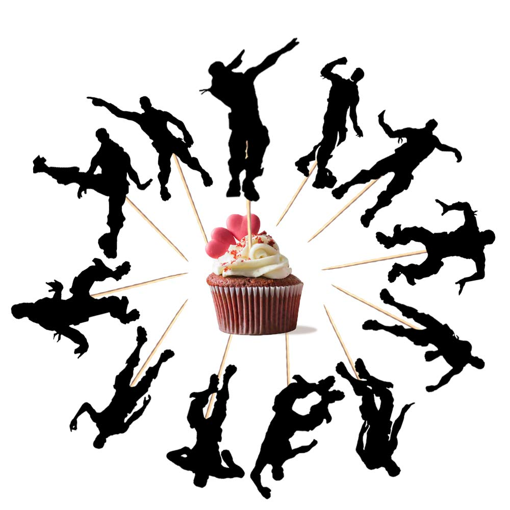 Fortgame Fans Kollektion Wimpelkette 15 Banner /& 12 Cupcake Toppers Kuchen Dekoration Party Supplies 27 pcs Geburtstagsdeko Wimpel Girlande