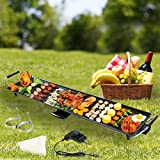 Electric Teppanyaki Table Top Grill Griddle BBQ Barbecue Nonstick Camping Garden