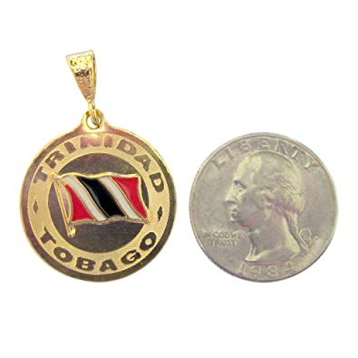pendant necklace pin and flag with tobago box gold tone trinidad chain