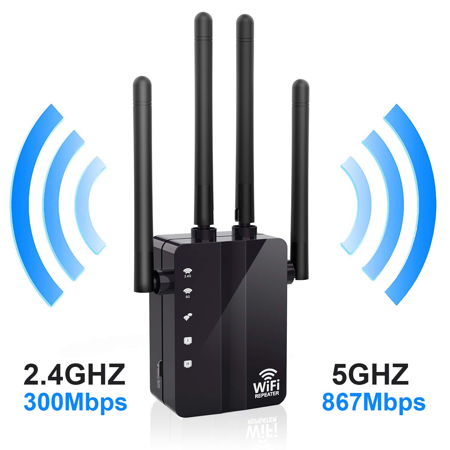 WiFi Range Extender, Anthter 1200Mbps WiFi Repeater with 4 External Antennas, 2 Ethernet Ports, 2.4 & 5GHz Dual Band Signal Booster, 360 Degree Full Coverage WiFi Range Extender Repeater, Easy Set-Up