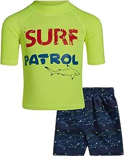 Sweet /& Soft Boys UPF 50 Boys Long Sleeve 2 Piece Rash Guard /& Trunk Swimsuit Set Infant//Toddler//Big Kid