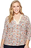 Lucky Brand Women's Plus Size Floral Tie Top, Natural Multi, 1X
