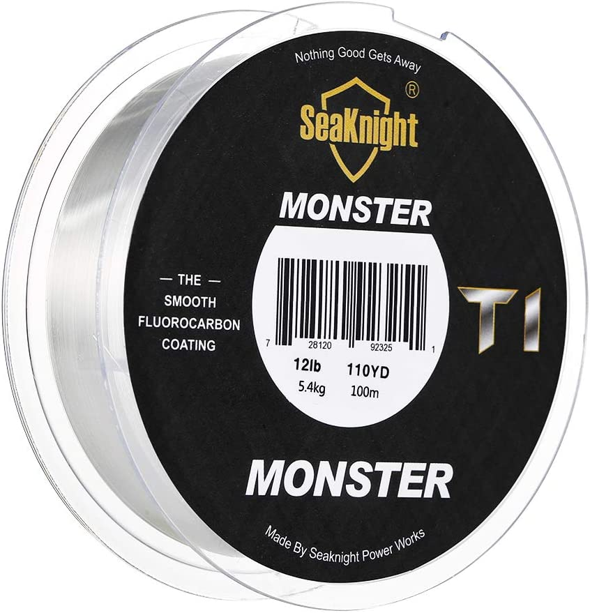 SeaKnight T2 Fluorocarbon Fishing Line 100/% Clear Flurocarbon Coated 100m//110yds Monofilament Leader Line