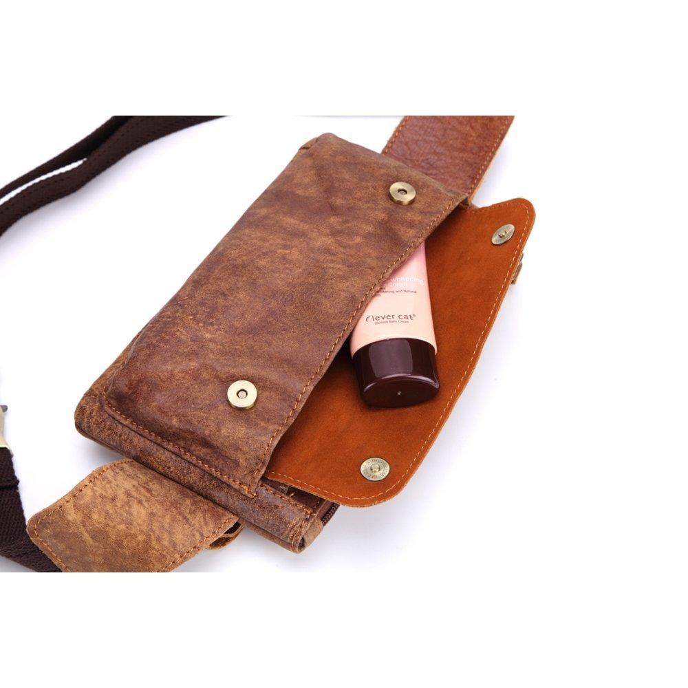 Unisex Retro Leather Waist Bag Messenger Fanny Pack Sling Bag Bum Bag Belt Bag for Men Women Travel Sports Running Hiking