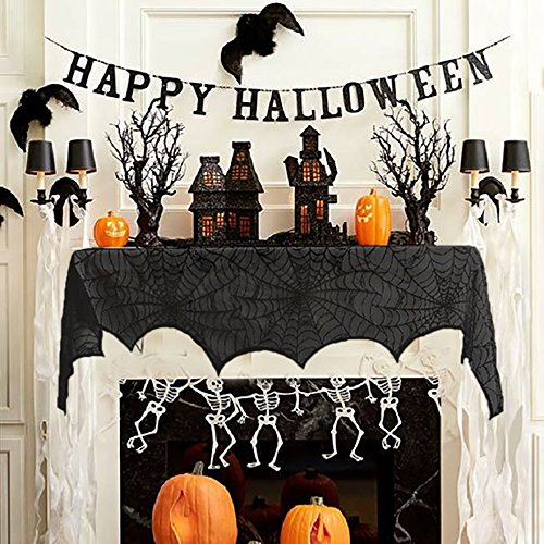 HAYATA Halloween Decoration Black Lace Spiderweb Fireplace Mantle Scarf Cover Festive Party Supplies 18 x 96 inch Cobweb Door Window Curtain Review