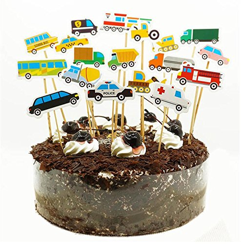 Wocuz Set Of 36 DIY Truck Tractor Excavator Dumpers Car Cupcake Toppers Cake Decoration With Food Picks For Kids Birthday Party Favors