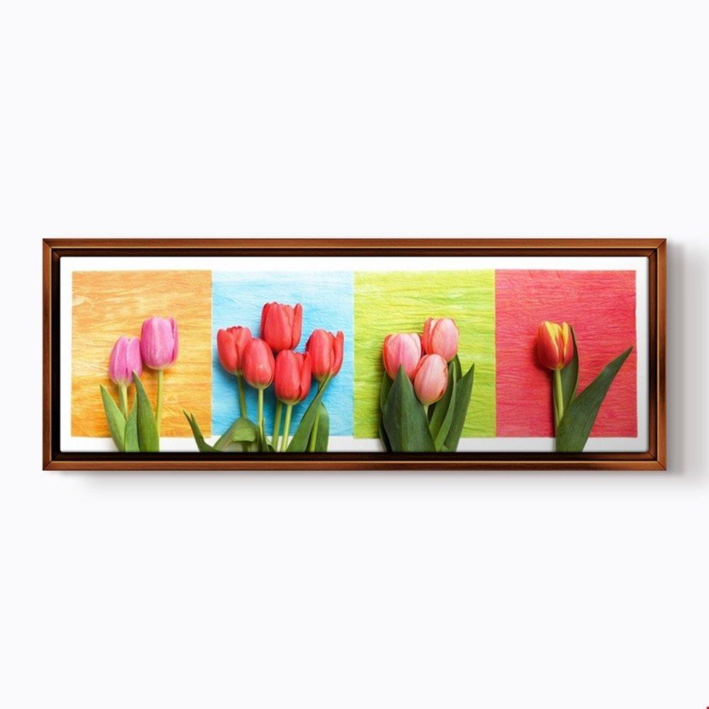 pluscanvas – 4つのチューリップ – チューリップ – さまざまなサイズ&フレームオプション 90 x 30cm (36