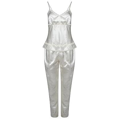 f8fe028b44 Ladies 3 Piece Satin Pyjama Set Womens Vest Lace Shorts PJ S Nightwear (M