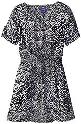 BeBop Big Girls' Printed Belted Dress, Black/White, Medium