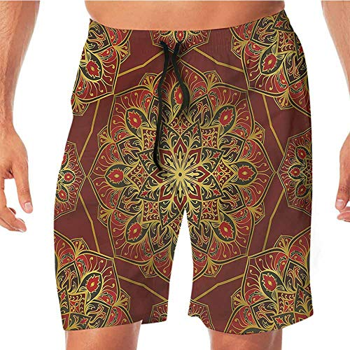 ScottDecor Quick-Dry Beach Boys Shorts Maroon,Arabic Colorful Ornament Volleyball Shorts XL