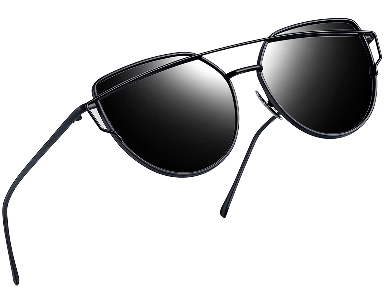 3fab0564e8e06 Amazon.com  Joopin Polarized Cat Eye Sunglasses for Women Metal Frame Sun Glasses  UV400 Shades (Black Frame Black Lens)  Clothing