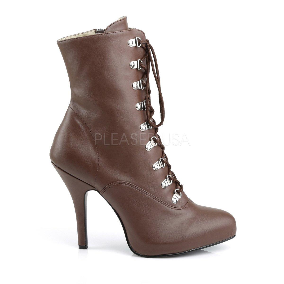 Higher-Heels Rosa Label Extra Größe Schnür Stiefelies Stiefel Eve-106 braun Übergrößen Übergrößen braun 579df3