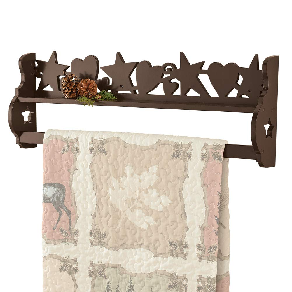 Collections Etc Wooden Country Star Mount Quilt Hanging Rack with Keyhole Hooks on Back for Easy Hanging by Collections Etc