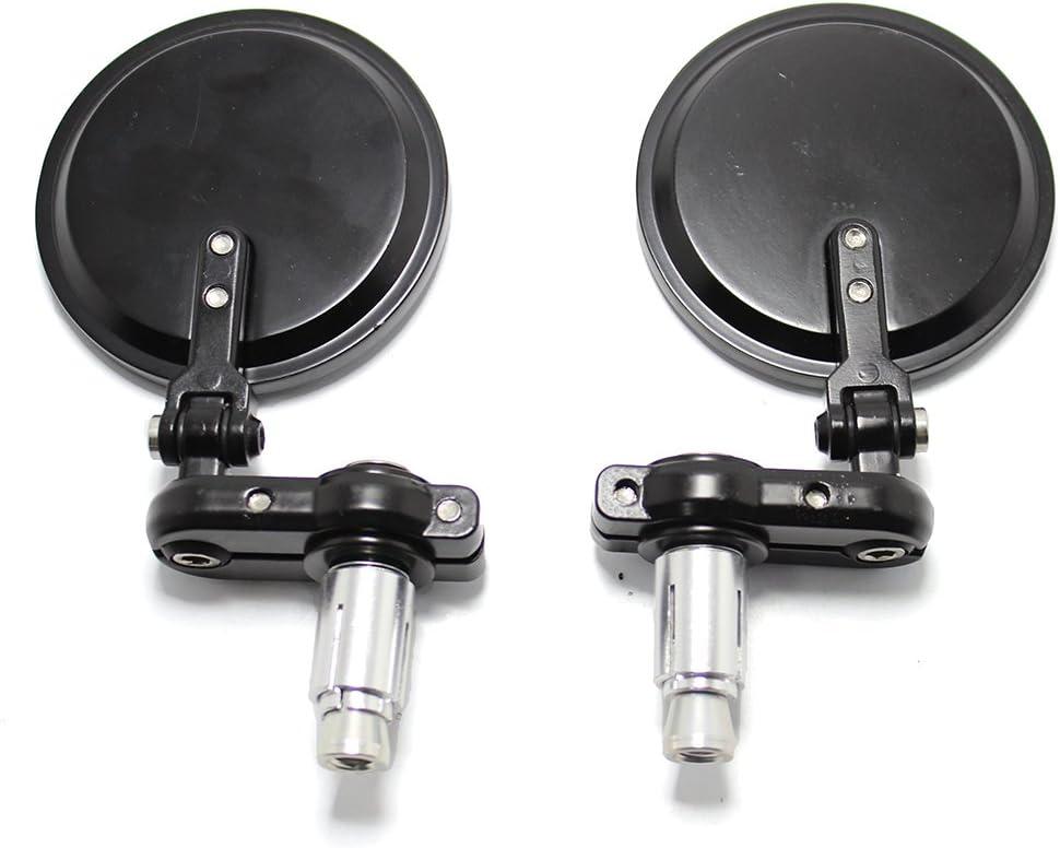 espejos retrovisores ovalados con extremo de barra de manija de 7//8para Scooter Cruiser Chopper Street Bike Espejos universales negros para motocicleta