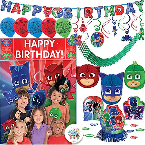 PJ Masks Birthday Party Decoration Supply Pack With 6 Balloons, Table Deco Kit, Hanging Swirl and Honeycomb Deco, Add An Age Birthday Banner, Scene Setter and Photo Props, Garland, and Exclusive Pin -