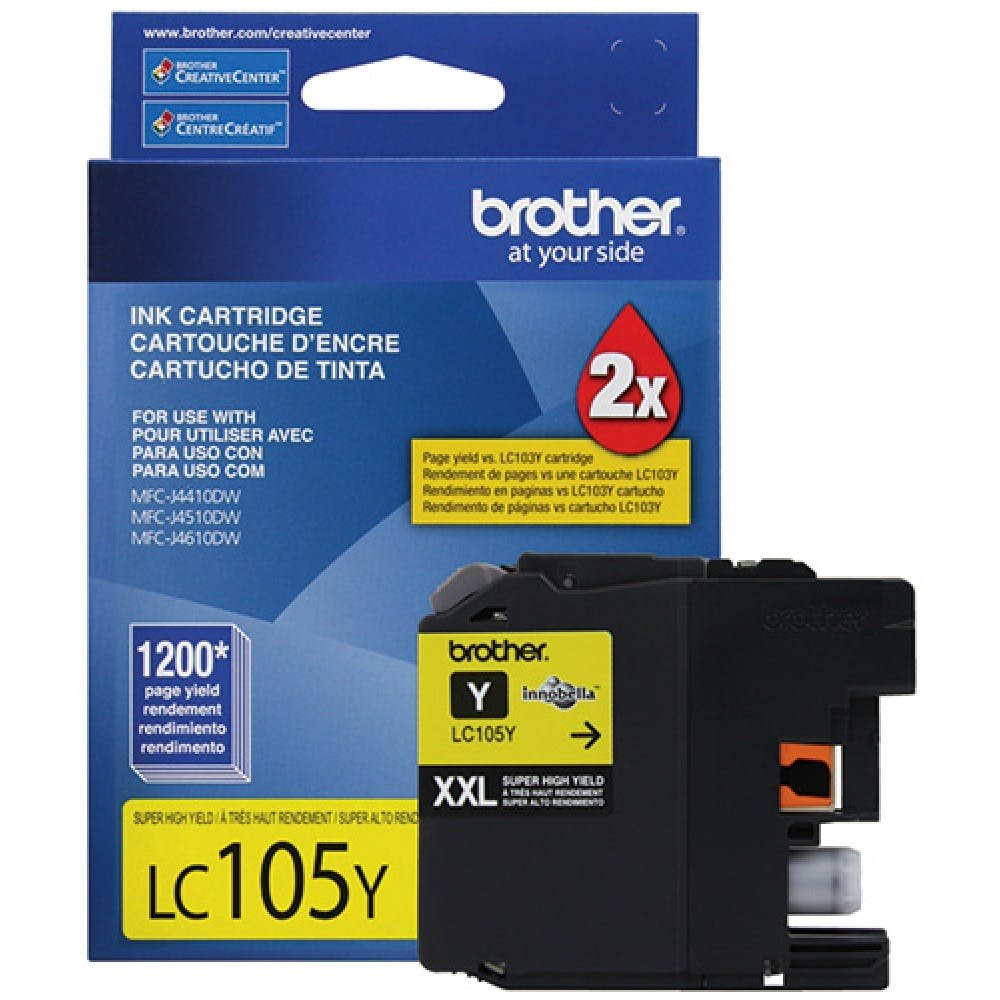 Brother Genuine LC105Y Super High Yield XXL Yellow Ink Cartridges