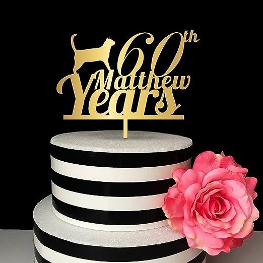 Decoración para tarta de 60 años, diseño de gato dorado con ...