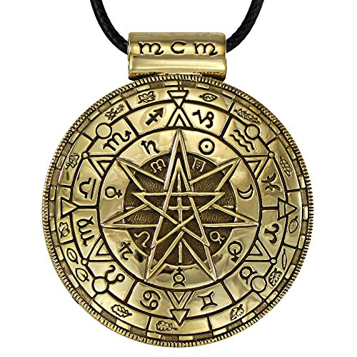 (Moonlight Mysteries Large Bronze Magic Circle Symbolic Pentacle Pendant - 1.5 Inch Diameter)