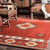 """nuLOOM Alfombras de tela abstractas hechas a mano tradicionales de lana vintage, 8 '6 """"x 11' 6"""", vino"""