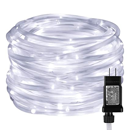 cheap for discount a3caa 7006a LE LED Rope Light with Timer, Low Voltage, 8 Mode, Waterproof, Daylight  White, 33ft 100 LED, Indoor Outdoor Plug in Light Rope and String for Deck,  ...