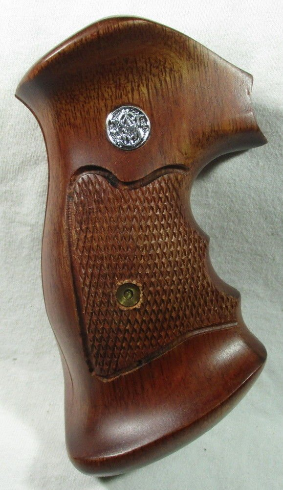 Smooth as Silk WOOD CHECKERED GRIPS FOR S &W REVOLVERS, K, L FRAME, SQUARE ROUND BUTT FINGER GROOVES, NEW by Smooth as Silk (Image #7)