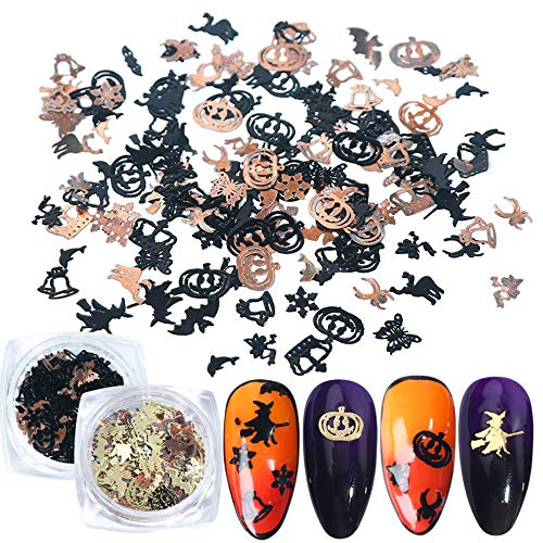 Simple Halloween Designs For Nails (Halloween Nail Sequins Stickers Flakes Nail Art Accessories Decals Day of The Dead Metal Paillettes Glitter Pumpkin Witch Bat Design for Halloween Party Fingernail Toenail Nail Decor(240PCS, 2)