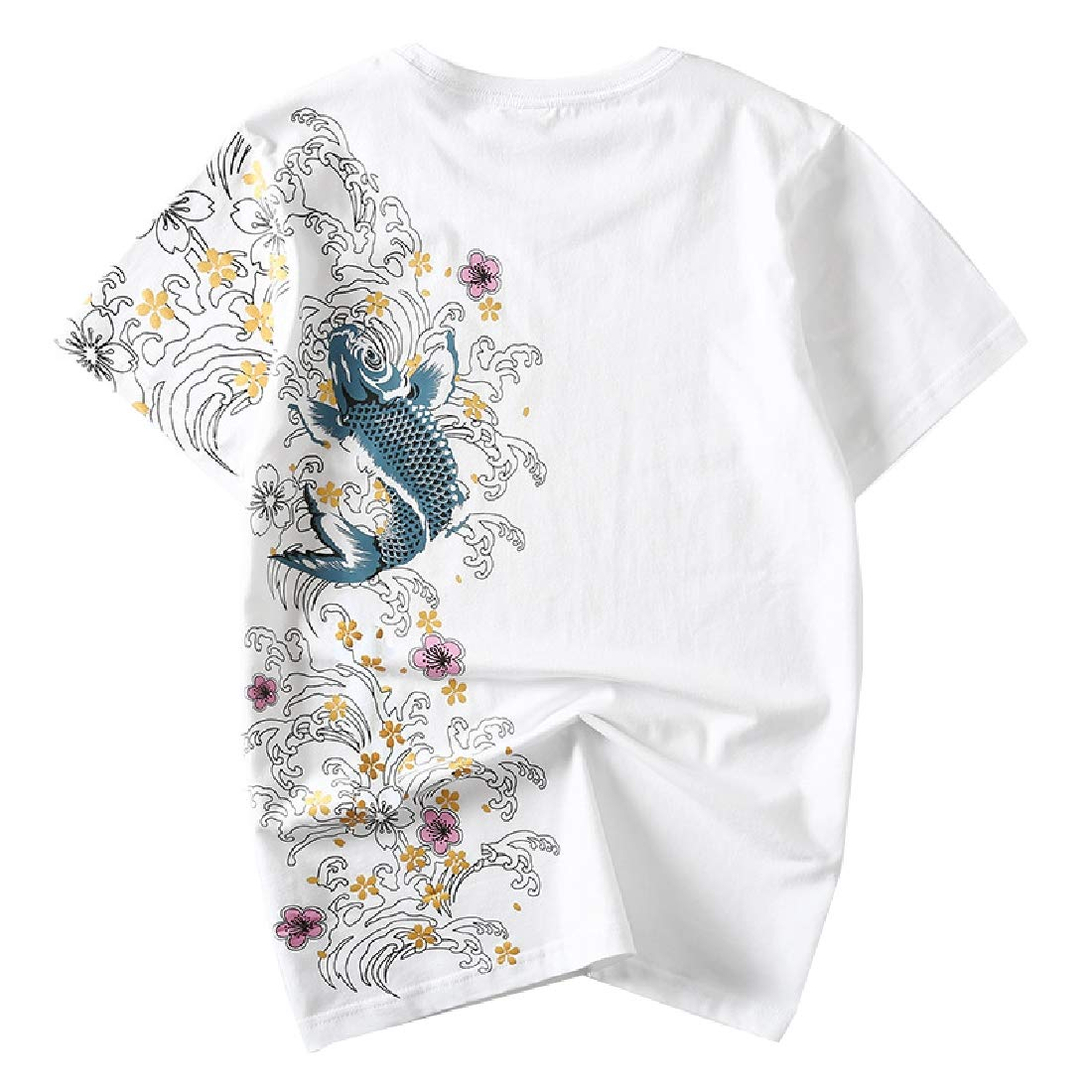 Coolred-Men 100/% Cotton Chinese Style Ethnic Tee Embroidered T-Shirt