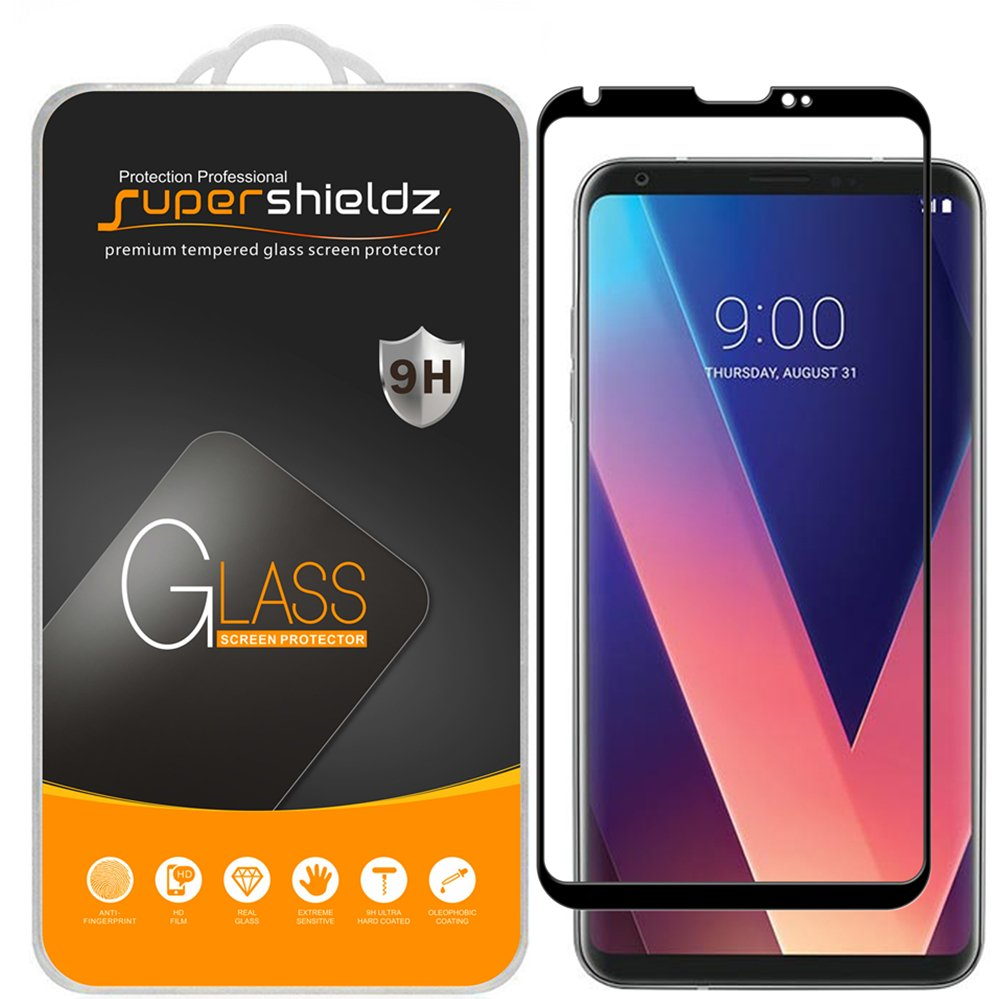 (2 Pack) Supershieldz for LG V30 Tempered Glass Screen Protector, (Full Screen Coverage) (3D Curved Glass) Anti Scratch, Bubble Free (Black) by Supershieldz