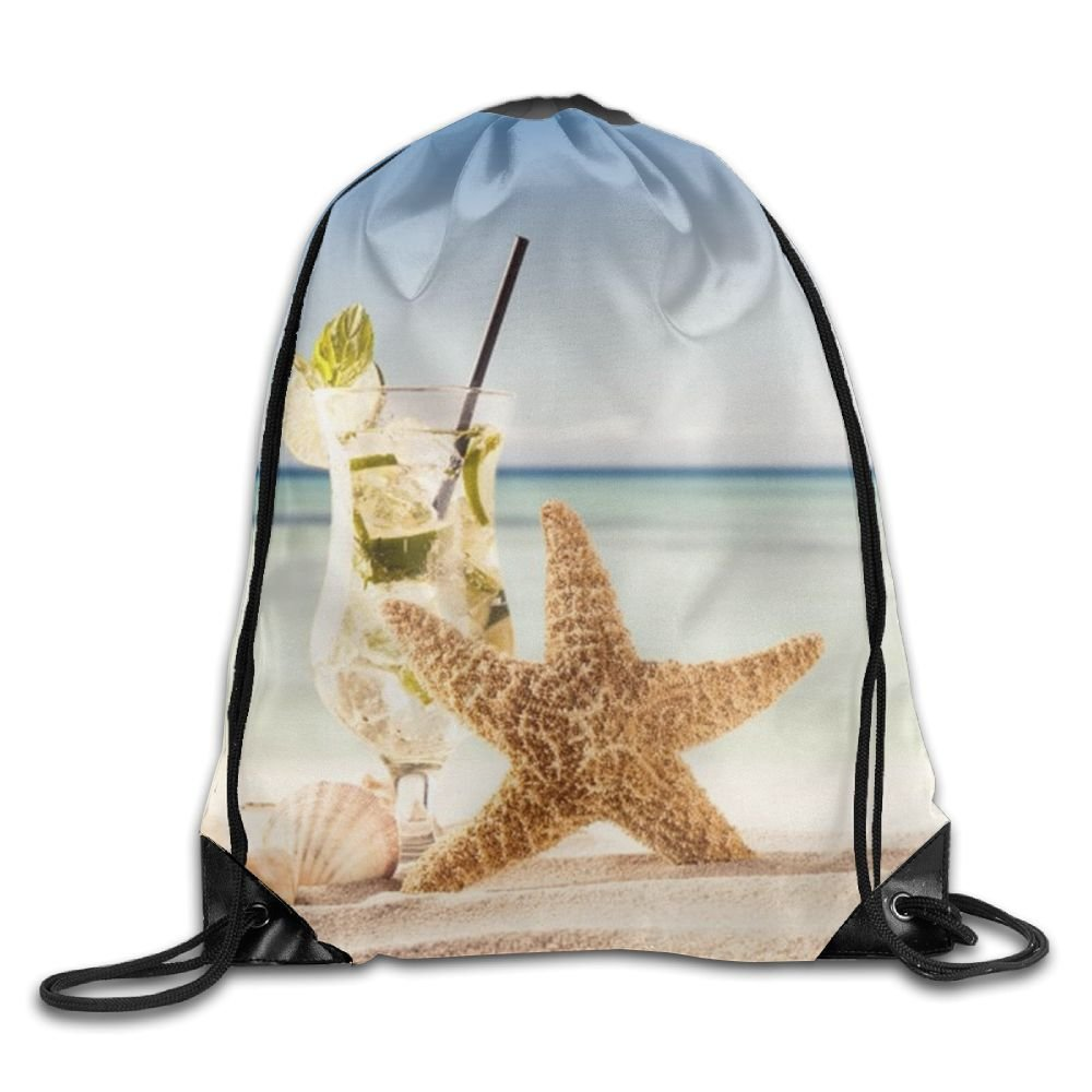 VIMUCIS Beach Starfish Drawstring Backpack Rucksack Shoulder Bags Training Gym Sack For Man And Women