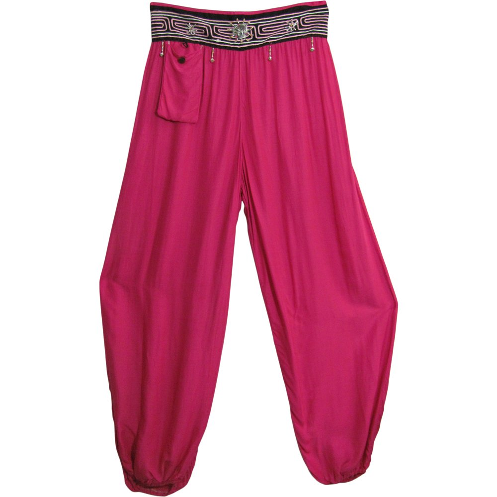 Bohemian Gypsy Beaded Waist Harem Lady Pirate Pants Pink - DeluxeAdultCostumes.com