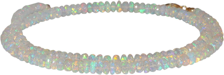 Collar de la buena suerte, collar con cuentas de ópalo en plata de ley 925 de 45,7 cm, collar delicado con piedra natal de octubre, joyería hecha a mano