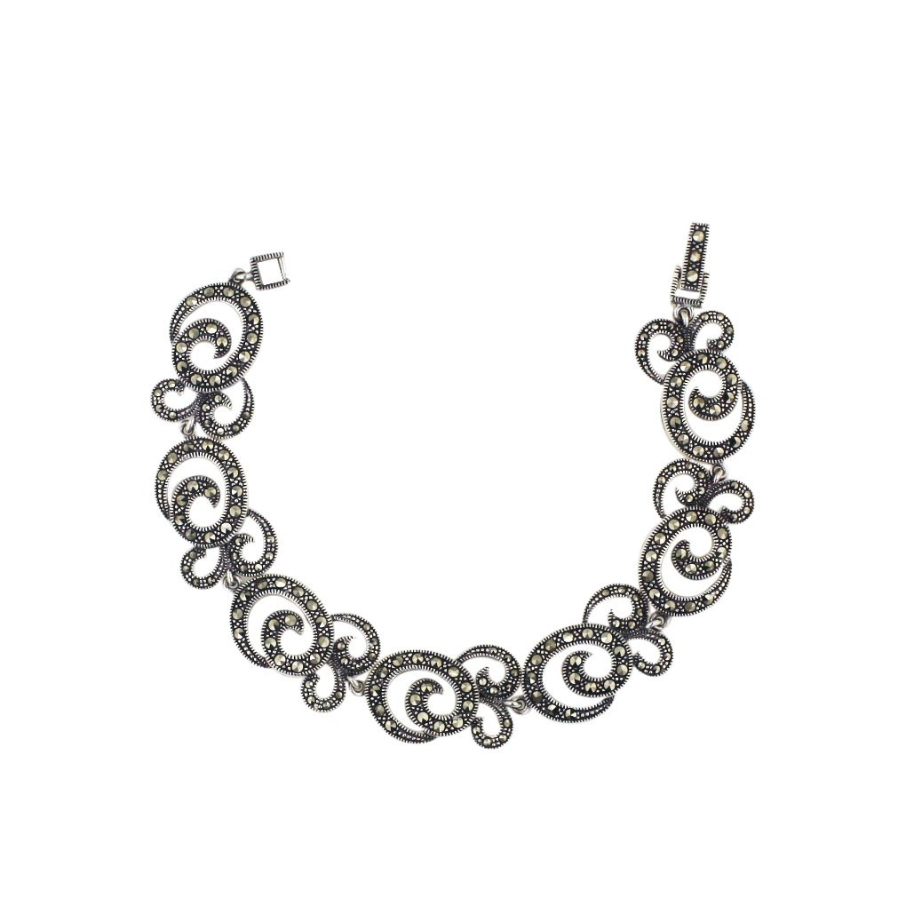 Sterling Silver Marcasite Pave Marcasite Rope with Triple Swirl Link Bracelet