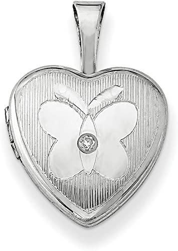 Sterling Silver Rhodium-plated /& Dia Polished 12mm Heart Locket