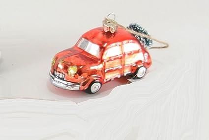 Car Christmas Ornaments.Amazon Com Cody Foster Glass Car Christmas Ornament Red