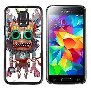 TikTakTok Hard Protective Back Case Skin Cover for Samsung Galaxy S5 Mini, SM-G800, NOT S5 REGULAR! - Monster Native Witch Voodoo Doll Skull