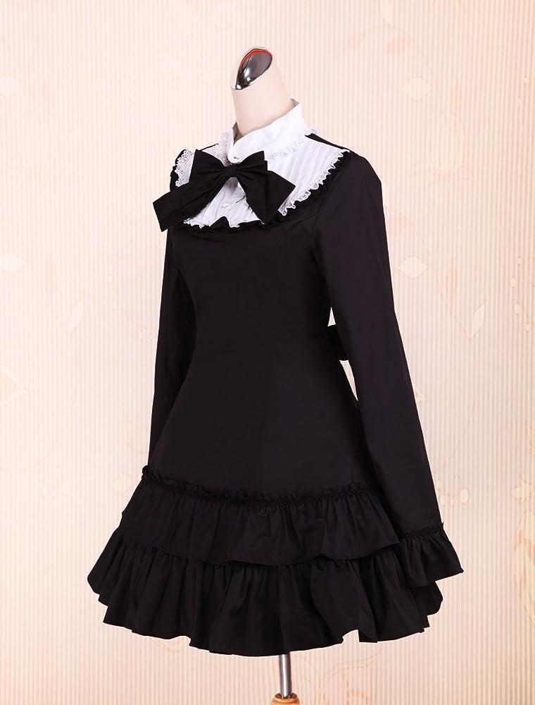 Antaina Corbata de Lazo de algodón Negra con Volantes Vestidos de ...
