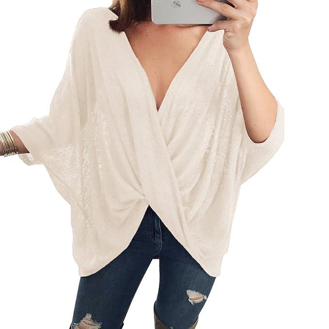 Juleya Mujer Camisa Tejida Oversize Top Camisa de Batwing Cruzada Blusa con Escote en V Sexy