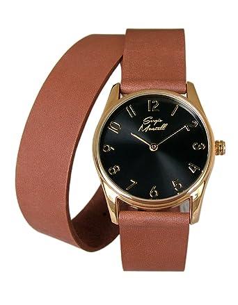 bd44e2e5e Sergio Montell Women's Brown Leather Wrap Strap Watch - Gold Tone Black Face  - Leather Womens