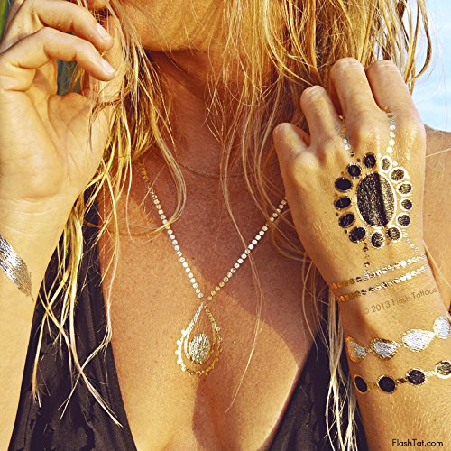 BEACH BLING BUNDLE includes Flash Tattoos topical-inspired Beach Queen Variety Set (25 tats) and Zarha 4-sheet pack by Flash Tattoos (Image #1)