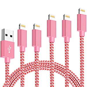 Firsting MFi Certified iPhone Charger Lightning Cable 5 Pack[3/3/6/6/10FT]Extra Long Nylon Braided USB Charging&Syncing Cord Compatible iPhone Xs/Max/XR/X/8/8Plus/7/7Plus/6S/6S Plus/SE/iPad/Nan More