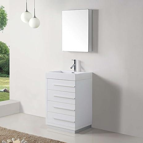 Virtu USA JS 50524 GW 24 Inch Bailey Single Sink Bathroom Vanity,