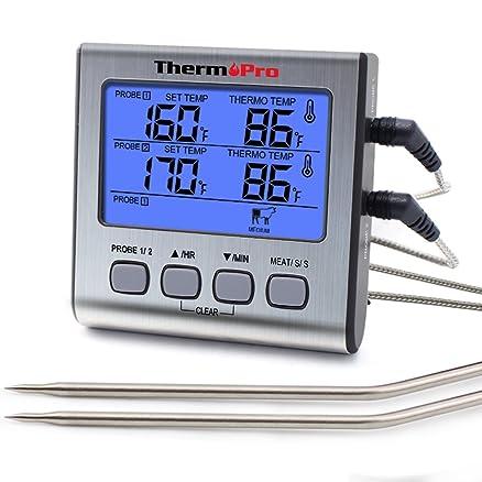 ThermoPro Termometro da cucina a cottura digitale con doppia sonda ...