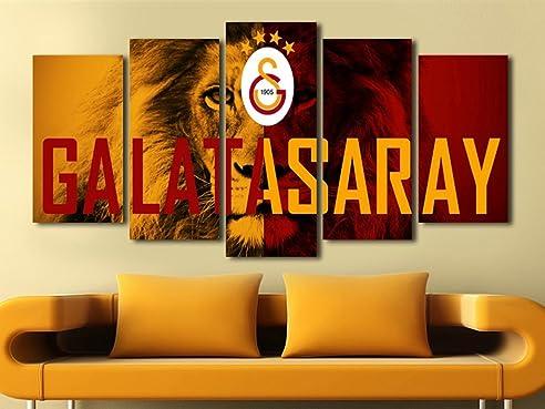 5 teiliges Wandbild Mdf Galatasaray mit Löwe b-4100 Bild - 5 Parca ...