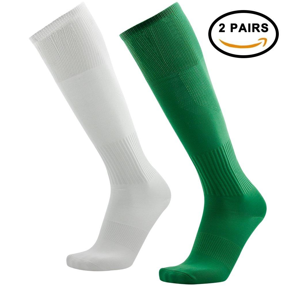 Tattooサッカーソックス、3streetユニセックスニーハイプリントチューブソックス2 / 6ペア B0743891TT 03#2 Pairs White Green-Unisex 03#2 Pairs White Green-Unisex
