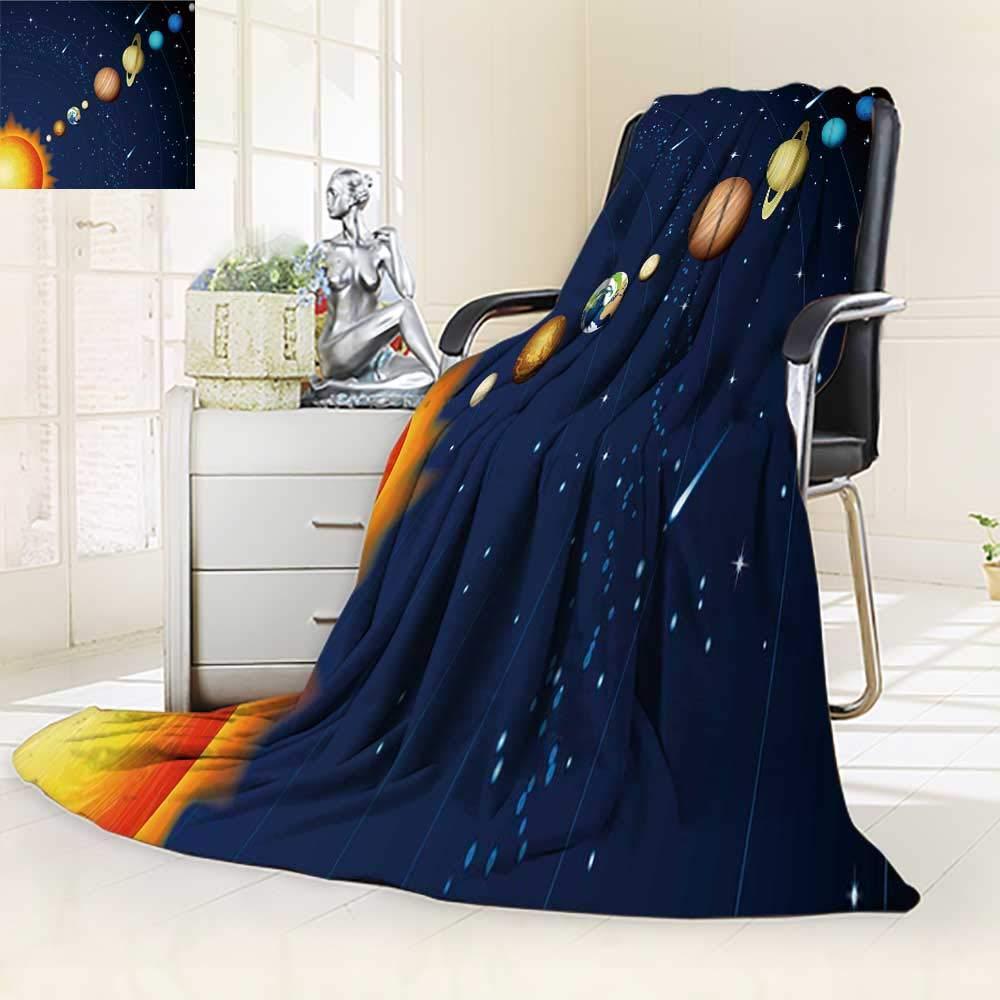 YOYI-HOME Fleece Duplex Printed Blanket 300 GSM Solar System Soft Warm Fuzzy Bed Blanket/59 W by 47'' H