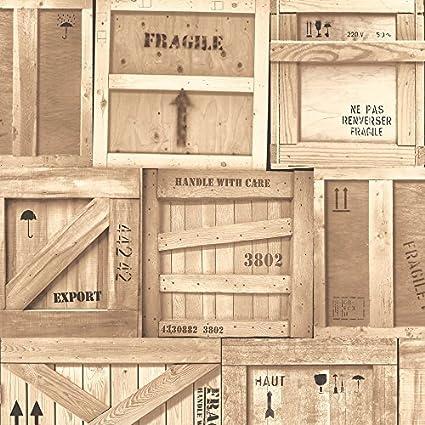 Cajones de madera caja de la fábrica Muriva cadorabo diseño realista Mural del papel pintado