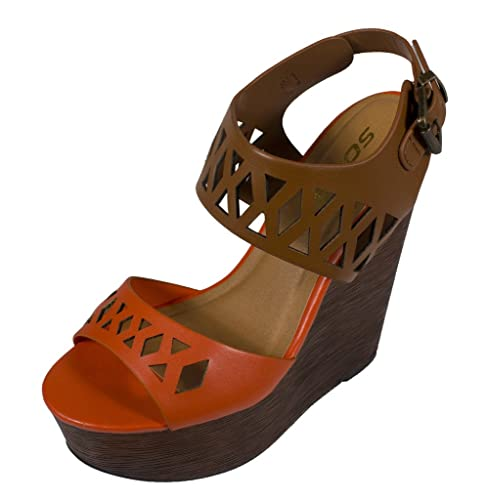 2955b35f501 SODA Women s Ritzy Open Toe Cut Out Slingback Platform Faux Wood Wedge  Sandal