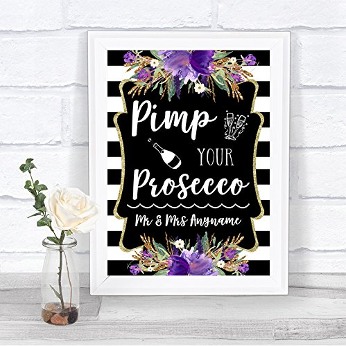 Black & White Stripes Purple Pimp Your Prosecco Personalized Wedding Sign