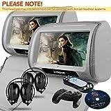 XTRONS Grey 2X Twin Car headrest DVD player 9 HD Touch Screen with FM Game Disc Mp3 IR Headphones