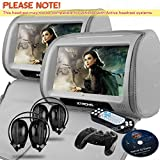 XTRONS Grey 2X Twin Car headrest DVD player 9″ HD Touch Screen with FM Game Disc Mp3 IR Headphones For Sale